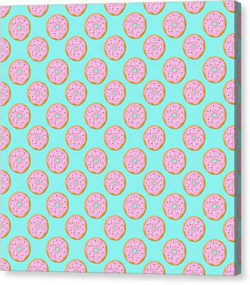 Pink Donuts Canvas Print by Little Bunny Sunshine