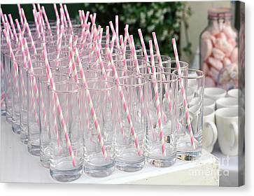 Pink Drinking Straws  Canvas Print by PhotoStock-Israel