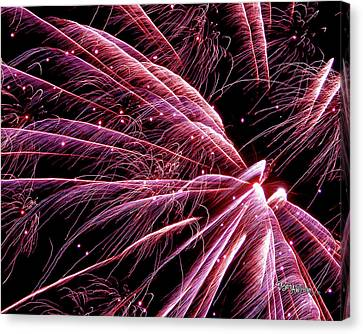Canvas Print featuring the photograph Pink Flamingo Fireworks #0710 by Barbara Tristan