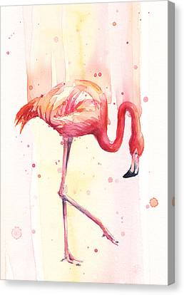 Pink Flamingo Watercolor Rain Canvas Print by Olga Shvartsur