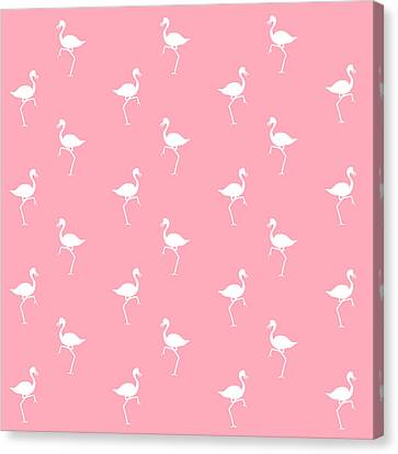 Pink Flamingos Pattern Canvas Print by Christina Rollo