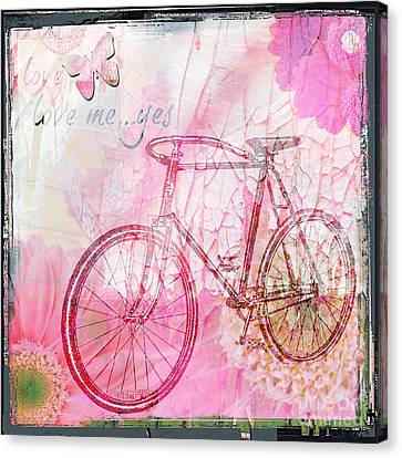 Pink Flower Bicycle Canvas Print by WALL ART and HOME DECOR
