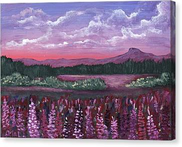 Canvas Print featuring the painting Pink Flower Field by Anastasiya Malakhova