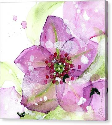 Pink Flower In The Snow Canvas Print