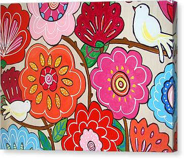 Pink Flowers And White Birds Canvas Print
