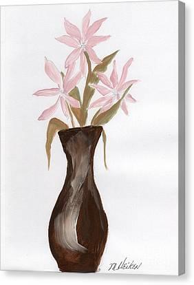 Pink Flowers In Brown Vase Canvas Print by Marsha Heiken
