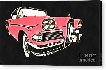 Pink Ford Edsel Painting Canvas Print