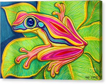 Pink Frog On Leafs Canvas Print by Nick Gustafson