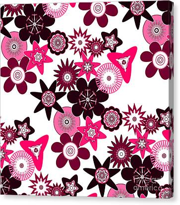 Pink Funky Flowers Canvas Print by Methune Hively