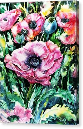 Canvas Print featuring the painting Pink Garden Poppies  by Trudi Doyle