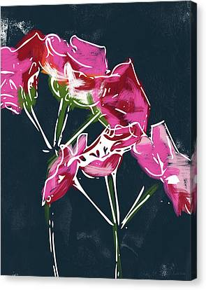 Navy Canvas Print - Pink Geraniums- Art By Linda Woods by Linda Woods