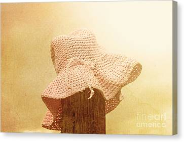 Pink Girls Hat On Farmyard Fence Post Canvas Print