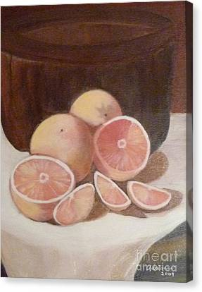 Pink Grapefruit Canvas Print by Adrianne  Wagers
