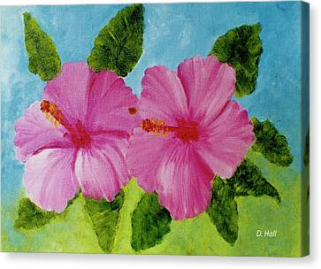 Pink Hawaiian Hibiscus Flower #23 Canvas Print by Donald k Hall