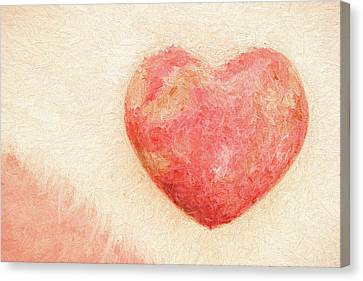 Pink Heart Soft And Painterly Canvas Print
