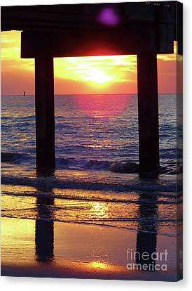 Pink Heart Sun Flare Clearwater Sunset Canvas Print by D Hackett
