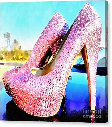 Pink Heels Paint On Paper Canvas Print by Catherine Lott