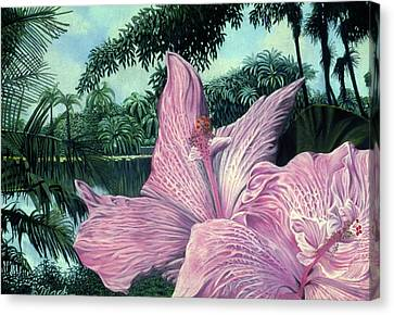 Pink Hibiscus Canvas Print by Stephen Mack