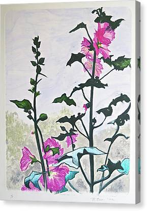 Pink Hollyhocks Monoprint Canvas Print