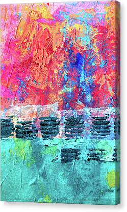 Canvas Print featuring the painting Pink Horizon by Nancy Merkle