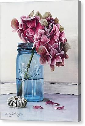 Pink Hydrangea Canvas Print by Wendy Ballentyne