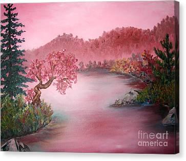 Pink Lake Canvas Print by Emily Michaud