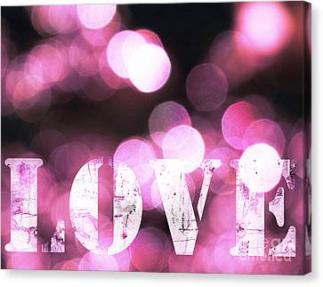 Pink Light Love Canvas Print by WALL ART and HOME DECOR