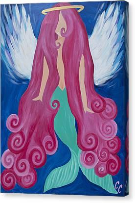 Pink Mermaid Angel Canvas Print by Chelsea Crumbliss