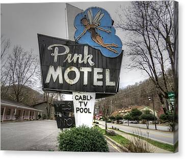 Pink Motel Sign Maggie Valley North Carolina Canvas Print by Jane Linders