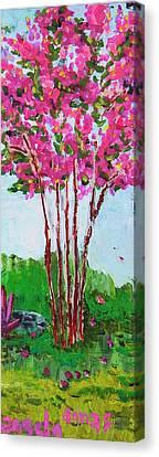 Pink Myrtle Canvas Print by Angela Annas