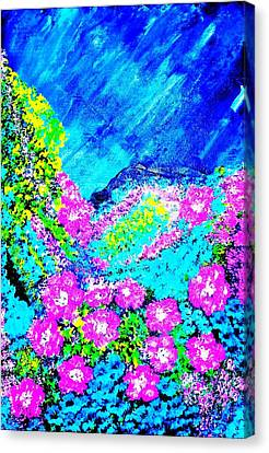 Canvas Print featuring the painting Pink N Blue by Piety Dsilva