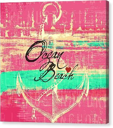 Anchored Canvas Print - Pink Ocean Beach Anchor by Brandi Fitzgerald