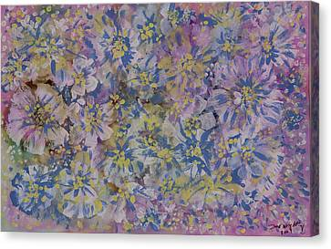 Pink On Blue Canvas Print by Don  Wright