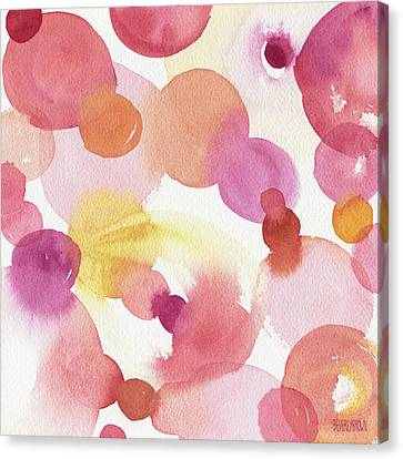 Pink Orange Yellow Abstract Watercolor Canvas Print by Beverly Brown