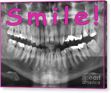Pink Panoramic Dental X-ray With A Smile  Canvas Print by Ilan Rosen