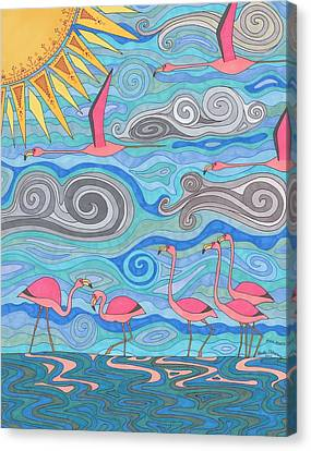 Flamingo Canvas Print - Pink Party by Pamela Schiermeyer