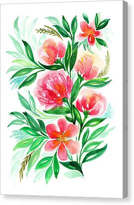 Pink Peach Peony And Rose Flower In Watercolor Canvas Print by My Art