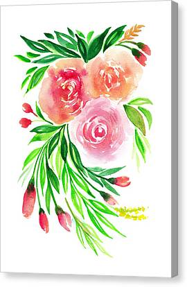 Pink Peach Rose Flower In Watercolor Canvas Print by My Art