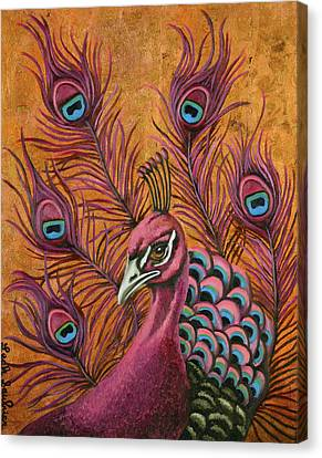 Pink Peacock Canvas Print by Leah Saulnier The Painting Maniac
