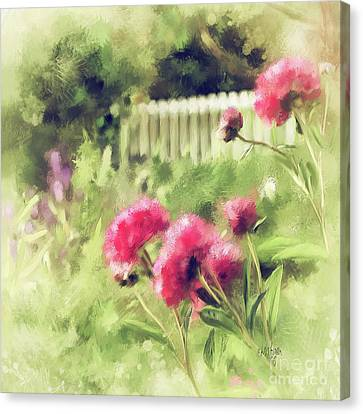 Canvas Print featuring the digital art Pink Peonies In A Vintage Garden by Lois Bryan