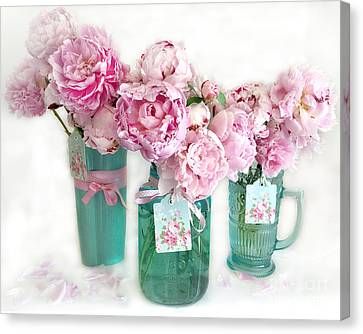 Canvas Print featuring the photograph Pink Peonies In Aqua Vases Romantic Watercolor Print - Pink Peony Home Decor Wall Art by Kathy Fornal