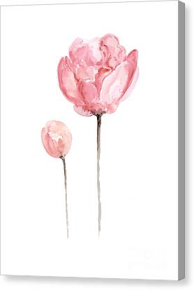 Largemouth Bass Canvas Print - Pink Peonies Watercolor Painting by Joanna Szmerdt