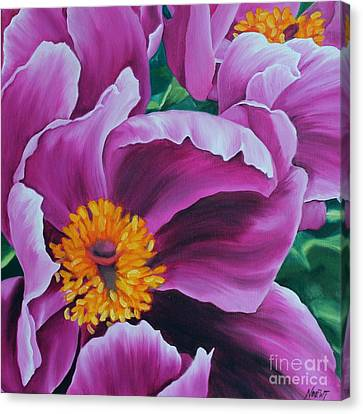 Canvas Print featuring the painting Pink Peony by Jindra Noewi