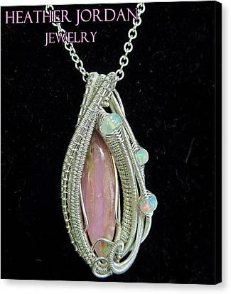 Pink Peruvian Opal Pendant In Sterling Silver With Ethiopian Welo Opals Pposs3 Canvas Print by Heather Jordan