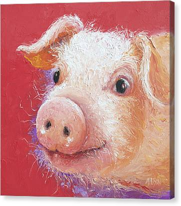 Pink Pig Painting Canvas Print by Jan Matson