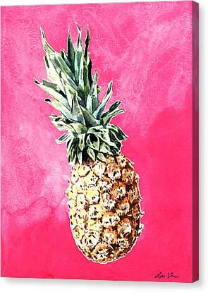Pink Pineapple Bright Fruit Still Life Healthy Living Yoga Inspiration Tropical Island Kawaii Cute Canvas Print by Laura Row