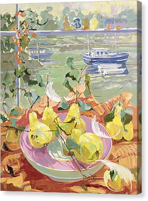 Pink Plate Of Pears Canvas Print by Elizabeth Jane Lloyd