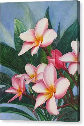 Pink Plumerias Canvas Print by Karen  Sioson