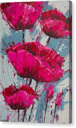 Pink Poppies Blue Sky Canvas Print by Irina Rumyantseva