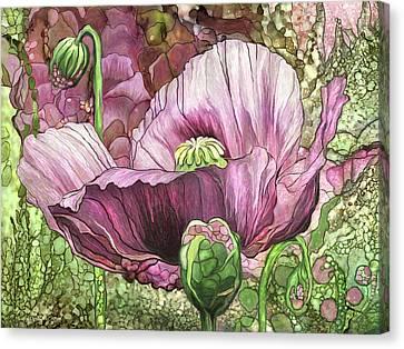 Canvas Print featuring the mixed media Pink Poppy Garden by Carol Cavalaris